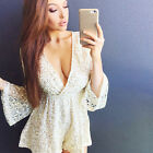 Sexy Women Deep V Neck Long Sleeve Romper Short Jumpsuit Playsuit Sequin Romper