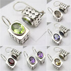 925 Sterling Silver PERIDOT, CZ, GARNET & Other Gemstone Variation BOX Earrings