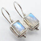 925 Silver MOONSTONE, AMETHYST & More Stone Variation FIX WIRE Deco Earrings NEW