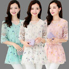 New Fashion Women Half Sleeve Shirts Slim Chiffon Lace Tops Casual Floral Blouse