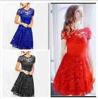 Fashion women popular lace temperament round neck short sleeve dress hot new