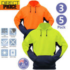 3 5 pack Hi Vis Fleece Hoodie Jumper Safety Workwear Kangaroo Pocket Two Tone