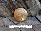 Old Rare Vintage Antique Civil War Relic Gold Gilded Flower Button 1860's.