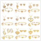 New Love Heart Girl Lady Gold Pendant Necklace Ring Earrings Bangle Jewelry Sets