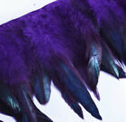 "Yrb10 - Purple Black (4""-8"" Wide) Rooster Feather Fringe Trim Facinator Material"