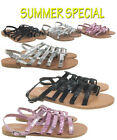WOMENS SANDALS LADIES GLITTERY FLAT SUMMER BEACH HOLIDAY PARTY GLADIATOR SANDALS