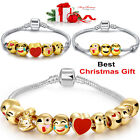 3/5/10 Beads Emoji Cartoon Style Charms Bracelet 18K Gold Plated Gift Women Girl