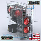 Transparent Acrylic Chassis Window Computer PC Case Gaming ATX Standard LED fans
