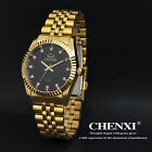 Luxury Mens 18K Gold Plated Stainless Steel Gold Dial Battery Quartz Wrist Watch