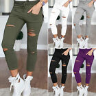 Sexy Women Stretchy Ripped Slim Fit Skinny Leggings Trousers Casual Pencil Pants