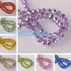 100pcs 6X4mm Lacquer Plated Faceted Rondelle Crystal Glass Loose Spacer Beads
