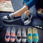 Fashion Love U Women Students Flats Low Top Casual Canvas Shoes Sneakers