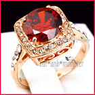 18K ROSE GOLD GF LADY GIRLS LUXURY RED GARNET WEDDING DRESS SQUARE CRYSTAL RING