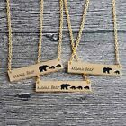 Mama Bear Tag Engraved Animal Pendant Necklace Gold Silver Mother Kids Love