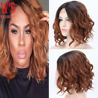 Cheap Ombre Two Tone Short Synthetic Hair Lace Front Wigs Real Heat Resistant HF