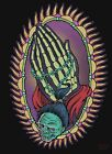 Praying for Evil by Allan Graves Skeleton Hands w Rosary Tattoo Canvas Art Print