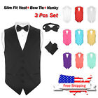 Men's Dress SLIM Fit Vest & BowTie Solid BLACK Color Bow Tie & Hanky Set