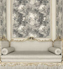 vintage chic wallpaper - Vintage Victorian Lovers Toile Grey White Tan Designer Cottage Chic Wallpaper