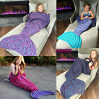 New Mermaid Tail Sofa Blanket Super Soft Warm Hand Crocheted Knitting  For Adult