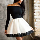 Newest Womens Off-shoulder Long Sleeve Lace Party Cocktail Short Mini Dress New