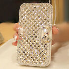 Fashion Bling Bowknot Crystal Diamond Wallet Flip Case Cover For Mobile Phones