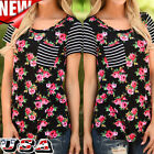 Fashion Women Floral Short Sleeve Tops Loose Blouse Casual Striped T Shirt Shirt