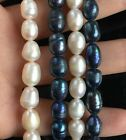 Lady's 1Strand Natural Freshwater Pearl Beads 7-8mm Black White Jewelry making