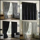Lorenzo Crushed Faux Velvet Ready Made Curtains Lined Pencil Pleat Metallic Pair