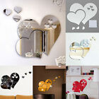 HOT 3D Mirror Love Hearts Wall Sticker Decal DIY  Room Art Mural Decor Removable