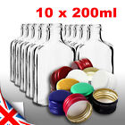10 pocket flask bottles 200ml with color screw caps for wine, whisky or spirits