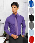 Premier Mens Poplin Long Sleeve Fitted Formal Poly Cotton Double Cuff Shirt