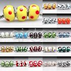 5/10pcs Silver Murano Glass Lampwork Bead Fit European Bracelet 14x14x10mm