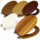 """NEW 18"""" MDF UNIVERSAL BATHROOM WC TOILET SEAT EASY FIT WITH FITTINGS WOODEN W/C"""