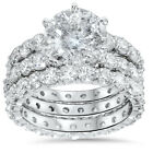 9ct Diamond Engagement Ring Eternity Guard Wedding Band Set White Gold Enhanced