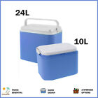 24 Litre or 10 Litre Picnic Cooler Box Insulated With Locking Lid Drinks Holder
