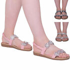 Womens Ladies Summer Flower Sandals Diamante Sling Back Party Flat Shoes Size