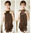 Soft Long Wavy Synthetic  Clip in Hair Topper Mono Top Hairpiece air bang
