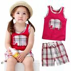 "Vaenait Baby Kid Check Girls Clothes Sleeveles Outfit set ""Jumbo Cherry"" 12M-7T"