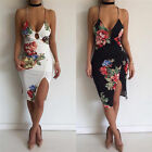 Women Summer Bandage Bodycon Evening Party Cocktail Mini Printing Dress V-Neck