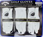 Callaway Men's Golf Gloves Premium Cabretta Leather, Size Large, 3 2 or 1 Gloves