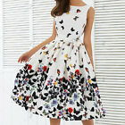 Summer Women Vintage Sleeveless Butterfly Casual Party Evening Cocktail Dress
