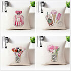 Watercolor Illustrations Perfume Lips Rose Cotton Linen Pillow Cushion Cover