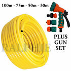 Professional Heavy Duty Yellow Hose Pipes + Spray Gun Set Garden 30-50-75-100m