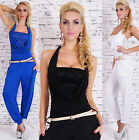 Sexy Women's Halter Jumpsuit With Cowl Neck Lace Catsuit  Overall inc Belt