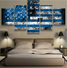 5 Pieces Detroit Lions Flag Painting Printed Canvas Wall Art Picture Home Décor