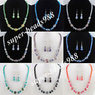 Fashion Crystal Faceted Lampwork Glass Bead Necklace Earrings Jewelry Set SBM079