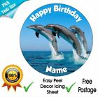 Dolphin Personalised Edible Icing Cake Topper Square/Round/Rect