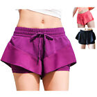 Women Wicking False Two Pieces GYM Yoga Riding Running Pants Daily Plain Clothes