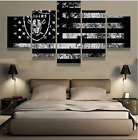 5 Panel Oakland Raiders Sport Flag Canvas Painting Wall Art Picture Home Décor