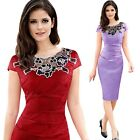 Floral Crew Neck Vintage Dresses Women Embroidery Ruched Bodycon Midi Dress M70